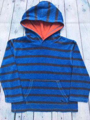 Mini Boden blue striped hoodie with orange lining in the hood age 7-8